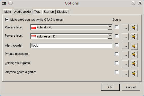 GameHunter options, Audio tab.