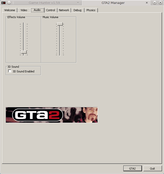GTA2 Manager, Audio tab.