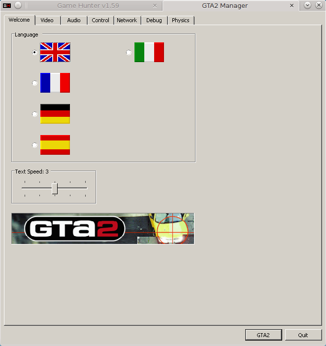 GTA2 Manager, Welcome tab.